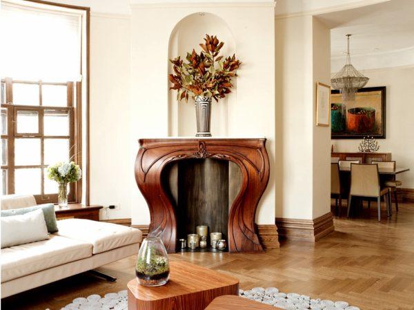 Фальш камин в гостиной в стиле модерн