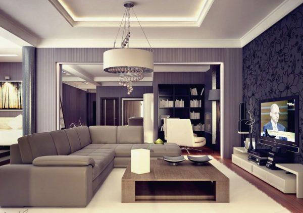 Приятный фиолетовый оттенок в оформлении стен гостиной стиля модерн