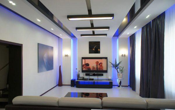 Многоуровневый потолок в стиле хай тек