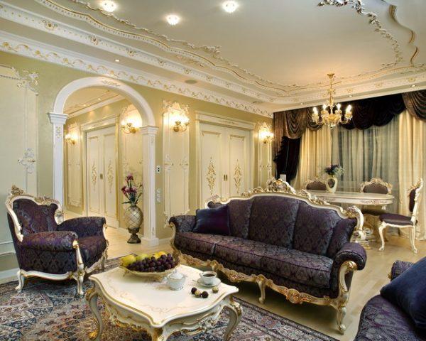 Отделка гостиной в стиле барокко.
