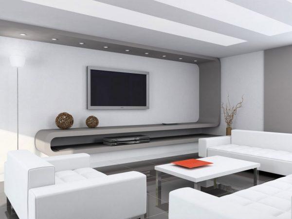 Оформление стен в интерьере гостиной в стиле хай тек