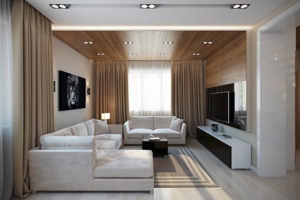 Пол из ламината в гостиной в стиле модерн