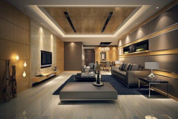 Многоуровневый потолок и освещение в стиле модерн